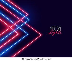 幾何学的, 赤, デザイン, 青い背景, ライト, ネオン