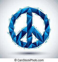 幾何学的, 青, 現代, 最も良く, アイコン, スタイル, 作られた, 平和, 使用, 3d