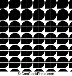 幾何学的, 黒, 抽象的, seamless, il, 対照, パターン, 白