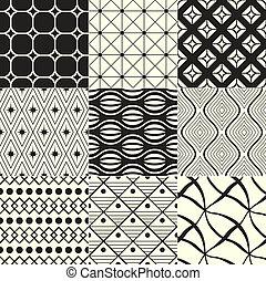 幾何学的, 黒, /, 背景, 白