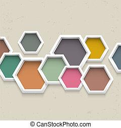 幾何学的, 3d, 背景, カラフルである, 六角形