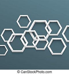 幾何学的, 3d, 背景, 六角形