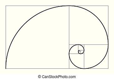 幾何学的, illustration., spiral., concept., ベクトル, 比率, 金, ...