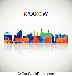 幾何学的, krakow, シルエット, カラフルである, スカイライン, style.