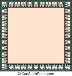 幾何学的, ornament., 広場, フレーム, エジプト人, 伝統的である