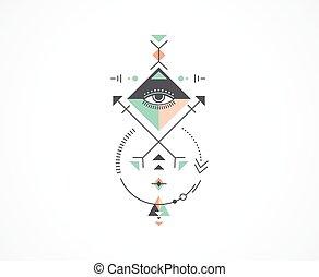 幾何学, 不明瞭である, 種族, aztec, 神聖, 神秘主義者, 形, 錬金術, シンボル, アイコン
