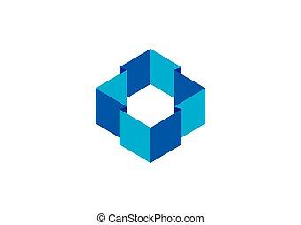 幾何学, 抽象的, ベクトル, ロゴ, 建設, 3d