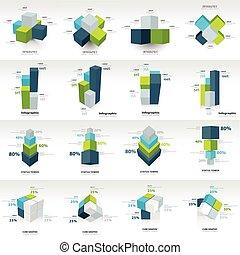 幾何学, 立方体, テンプレート, infographic