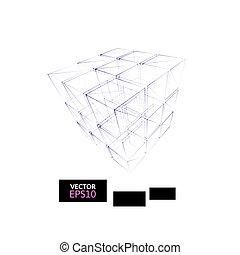 幾何学, 立方体, 建設, アイコン