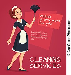 广告, 描述, 打扫
