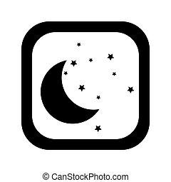 广场, 侧面影象, 按钮, 月亮, 黑色, 星