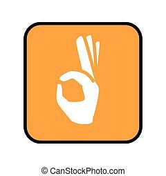 广场, 信号, 和平, 敞开的手, 按钮