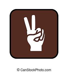 广场, 信号, 手, 胜利, 打开, 按钮