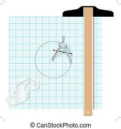 广场, 量角器, 草拟, 工程, t, 指南针, 工具