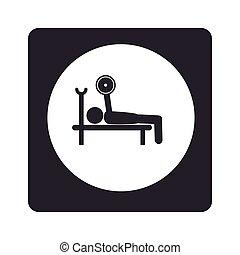 广场, pictogram, 内部, weightlifting, 单色, 环绕, 人