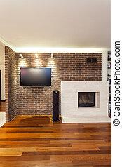 広い, アパート, -, 暖炉