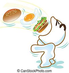 広い, 手形, 卵, 食べなさい, バーガー
