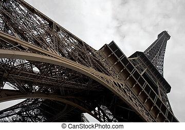 広く, タワー, angle., エッフェル