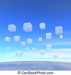 広く, レンダリングした, illustration., 飛行, boxes., 海洋, 透明, 3d
