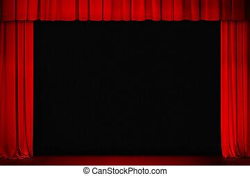 広く, 劇場, 映画館, カーテン, 開いた, ∥あるいは∥, 赤, ステージ