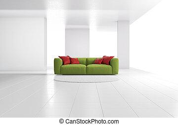 広く, 明るい, 緑, 部屋, ソファー