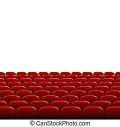広く, 横列, 劇場, 映画館, 映画, 席, screen., イラスト, ベクトル, 空, ブランク, 前部, 白, 講堂, ∥あるいは∥, seats., 赤