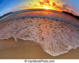 広く, 浜, 角度, 日没, 打撃