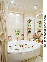 広く, 浴室, 角度, バラ, 暖かい, 現代, 花弁, jacuzzi, 調子, 光景