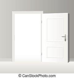 広く, 白, 戸オープン