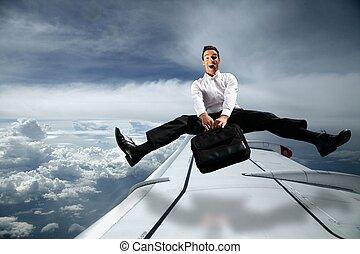 広く, 空, 飛行機, 袋, 届く, の上, 人, 離れて 足