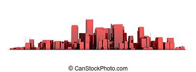 広く, 都市の景観, モデル, 3d, -, 光沢がある, 赤, 都市, 白い背景
