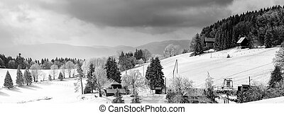 広く, 雪で覆われている, パノラマである, フランク, 丘, 光景