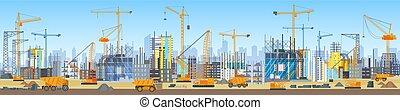 広く, 頭, 都市, クレーン, process., 建物, サイト。, スカイライン, 建設, 下に, タワー, 旗, construction.