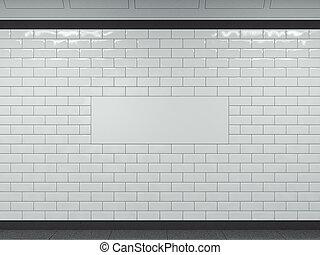 広く, subway., レンダリング, 白, 旗, 3d