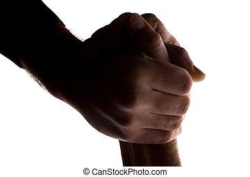 広げられる 手, 年配, 助け, 若者, シルエット, -