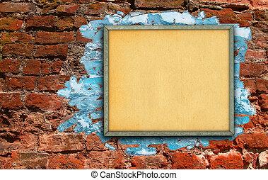 広告板, に対して, 壁, れんが