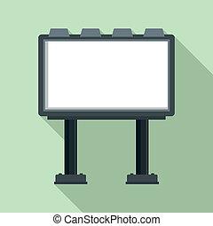 広告板, アイコン, スタイル, 現代, 平ら