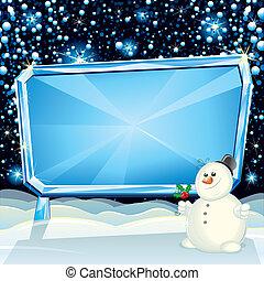広告板, クリスマス, 氷