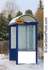 広告板, バス停, 冬, ブランク