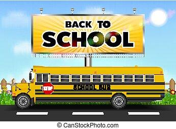 広告板, バス, 学校, 背部道
