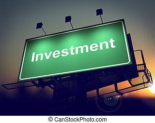 広告板, バックグラウンド。, -, 投資, 日の出