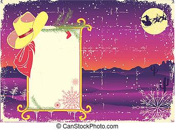 広告板, フレーム, ∥で∥, カウボーイ, hat.retro, クリスマス, 背景, ∥ために∥, text.