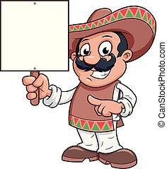 広告板, 人, メキシコ人, 保有物, ブランク