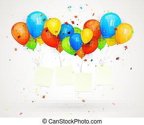 広告板, 休日, ベクトル, balloons., イラスト