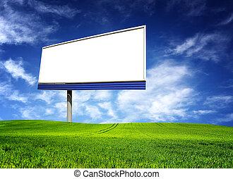 広告板, 大きい, 上に, 青い空