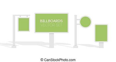 広告板, 宣伝しなさい, 広告板, 都市ライト, billboard., 平ら, 3d, ベクトル, イラスト, ∥ために∥, infographic