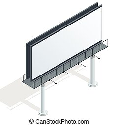 広告板, 宣伝しなさい, 広告板, 都市ライト, billboard., 平ら, 3d, 等大, ベクトル, イラスト, ∥ために∥, infographic.