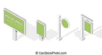 広告板, 宣伝しなさい, 広告板, 都市ライト, billboard., 平ら, 3d, 等大, ベクトル, イラスト, ∥ために∥, infographic