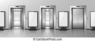広告板, 玄関, オフィス, ドア, エレベーター