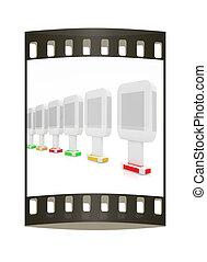広告板, 縦, イラスト, 背景, グロッシー, ストリップ, 白, フィルム, 3D